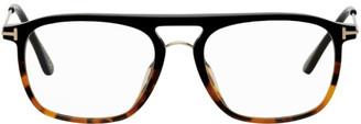 Tom Ford Tortoiseshell and Rose Gold Blue Block Soft Square Glasses