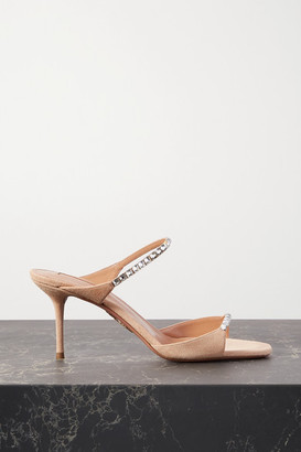 Aquazzura Diamante 75 Crystal-embellished Suede Sandals - Neutral