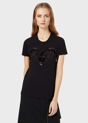 Emporio Armani Stretch Jersey T-Shirt With Eagle And Sequins
