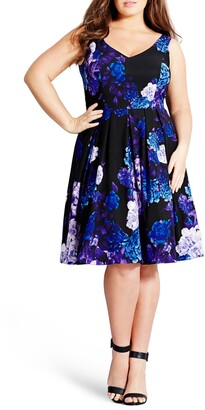 City Chic Hydrangea Fit & Flare Dress