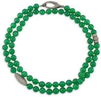 Nina Gilin Green Sapphire & Diamond Pave Long Beaded Necklace