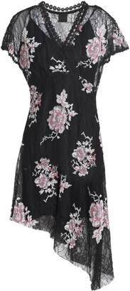Anna Sui Asymmetric Embroidered Lace Mini Dress
