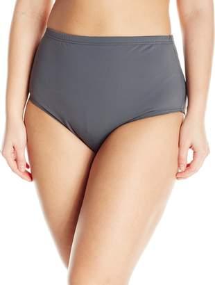 Fit 4 U Women's Plus-Size Solid Brief Bikini Bottom