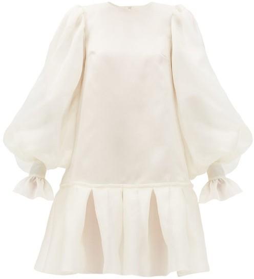 Giles Kristen Balloon-sleeved Silk-organza Mini Dress - Ivory