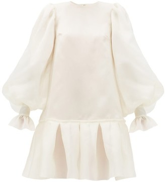 Giles Kristen Balloon-sleeved Silk-organza Mini Dress - Womens - Ivory