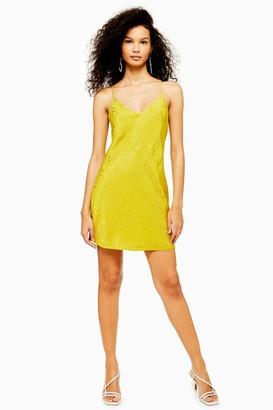 Topshop Womens Chartreuse Jacquard Mini Slip Dress - Chartreuse