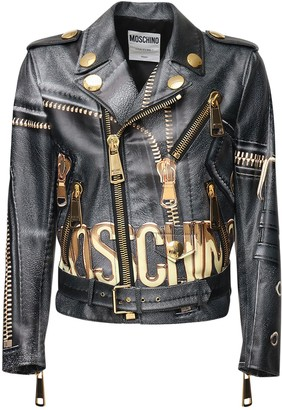 Moschino All Over Logo Print Leather Biker Jacket