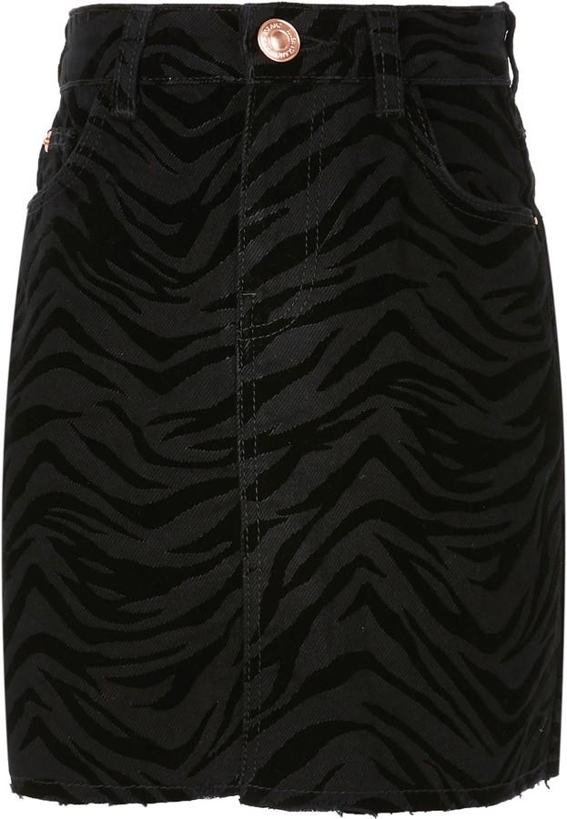 River Island Girls Black zebra flocked skirt