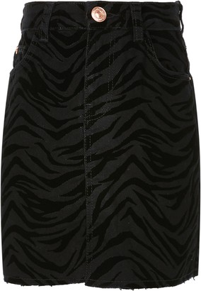 River Island Girls Black zebra flocked skirt