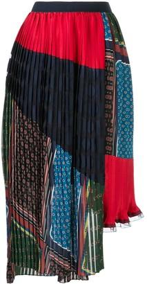 Kolor Asymmetric Multi-Print Pleated Skirt