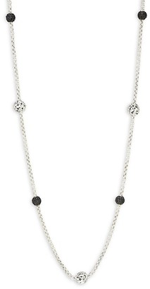 Charles Krypell Sterling Silver Black Sapphire Station Necklace