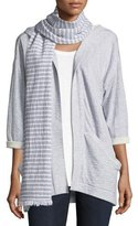 Eileen Fisher Textured Organic Cotton Striped Scarf