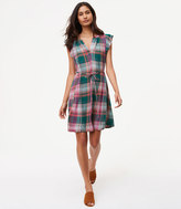 LOFT Petite Plaid Flutter Dress