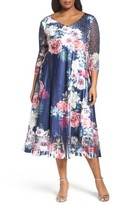 Komarov Plus Size Women's Floral Charmeuse & Chiffon Dress