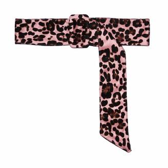 NEW OOPS Leopard Belts for Women Velvet Wide Animal Print Cheetah Obi Cinch Belt Waist Band - Pink - Large