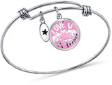 "Unwritten Love You A Ton"" Charm Bangle Bracelet in Stainless Steel"