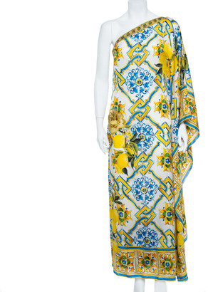 Dolce & Gabbana Yellow Majolica and Lemon Print Silk Blend One Shoulder Gown M