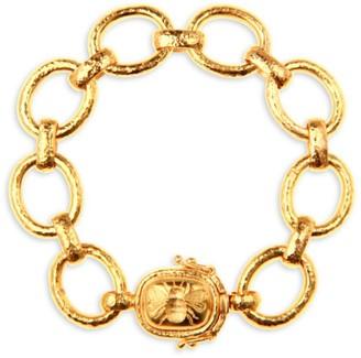 Elizabeth Locke Gold Hammered 19K Yellow Gold Fat Bee Clasp Medium-Link Bracelet