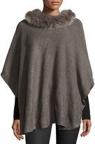 Adrienne Landau Fox Fur-Trim Knit Poncho, Dark Gray