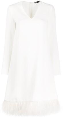 P.A.R.O.S.H. Feather-Trim Mid-Length Dress
