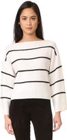 Vince Wide Striped Boat Neck Cashmere Sweater