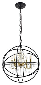 House Of Hamptonâ® Clifton 4 - Light Unique Globe Chandelier House of HamptonA Finish: Black/Gold