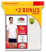 Fruit of the Loom Men's Crew Neck T-Shirt 6+2 pk White - Undershirt