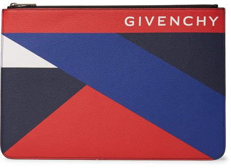 Givenchy Colour-Block Pebble-Grain Leather Pouch