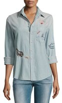 Mother Foxy Boxy Buried Treasure Embroidered Shirt, Indigo