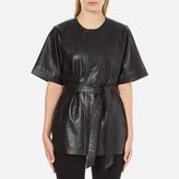Gestuz Women's Sash Leather Kimono Black