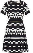 Nicole Miller Spatial Black Geometric Pleated Flare Dress