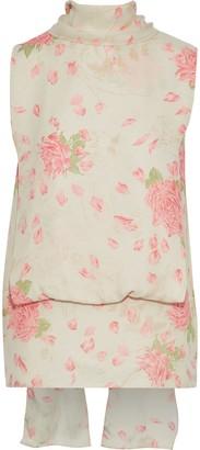 Valentino Draped Floral-print Silk-crepe Top
