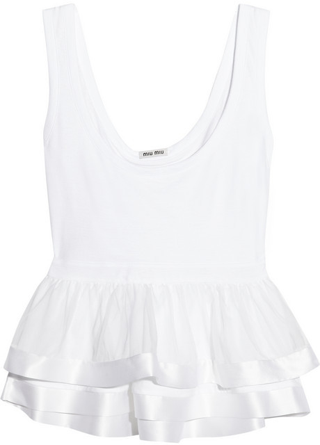 Miu Miu Cotton and silk-organza peplum tank