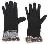 Sylvia Alexander Women's Glove Touch Screen Compatible Black/Grey with Faux Fur Cuff