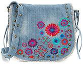 Steve Madden Steven by Blume Studded Floral-Embroidered Frayed Denim Saddle Bag