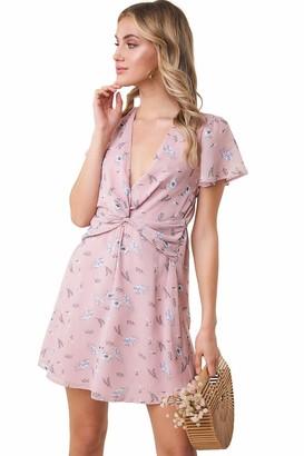 Sugar Lips Sugarlips Women's Flutter Sleeve Twist Front Mini Dress