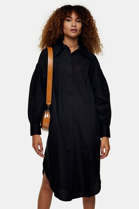 Topshop Womens Black Oversized Shirt Dress - Black