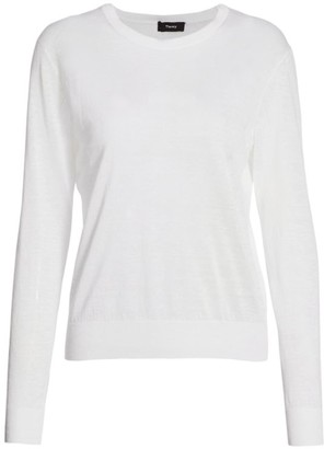 Theory Linen Blend Crew Sweater