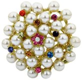 Brooched Magestic Multi Color Pearl Rhinestone Brooch