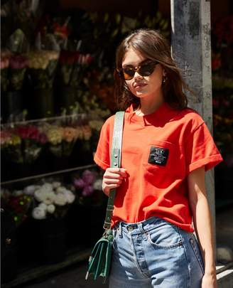 The Kooples Cotton embroidered patch oversize red womens T-shirt