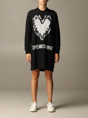 Love Moschino Dress Pullover Dress With Heart Print