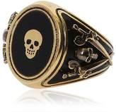 Alexander McQueen Skull Enameled Brass Ring