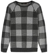 Jaeger Merino Buffalo Check Sweater, Grey
