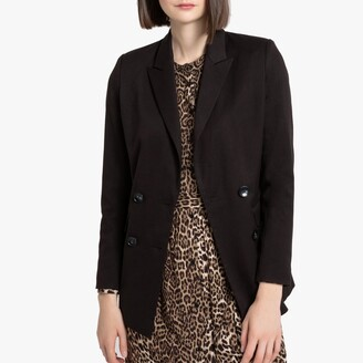 La Redoute Collections Longline Straight Double-Breasted Blazer with Pockets