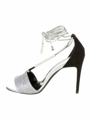 Pierre Hardy Glitter Ankle Strap Sandals Silver