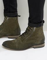 Asos Lace Up Boots In Khaki Suede With Toecap
