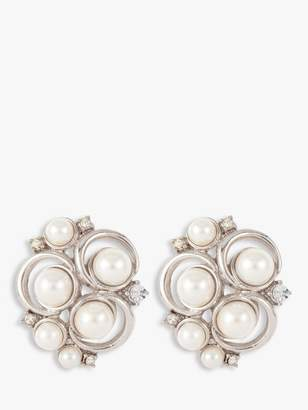 Susan Caplan Vintage Rhodium Plated Faux Pearl and Swarovski Crystal Circle Detail Clip-On Stud Earrings, Silver