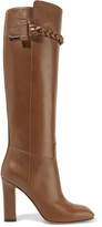 Valentino Braid-trimmed leather knee boots