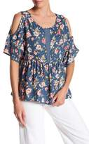 Bobeau Peplum Floral Cold Shoulder Shirt
