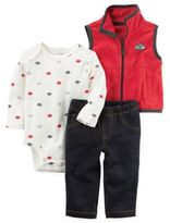Carter's 3-Piece Football Little Vest, Bodysuit, and Pant Set in Red